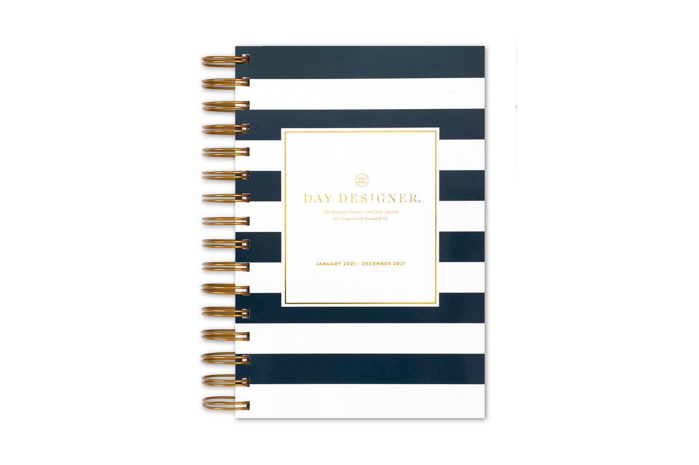 Day designer 5x8 daily monthly planner for blue sky in black and white stripes