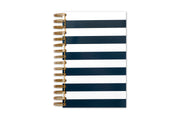 gold twin-wire O binding on this 5x8 daily monthly planner with black and white stripes and thick hardcover.