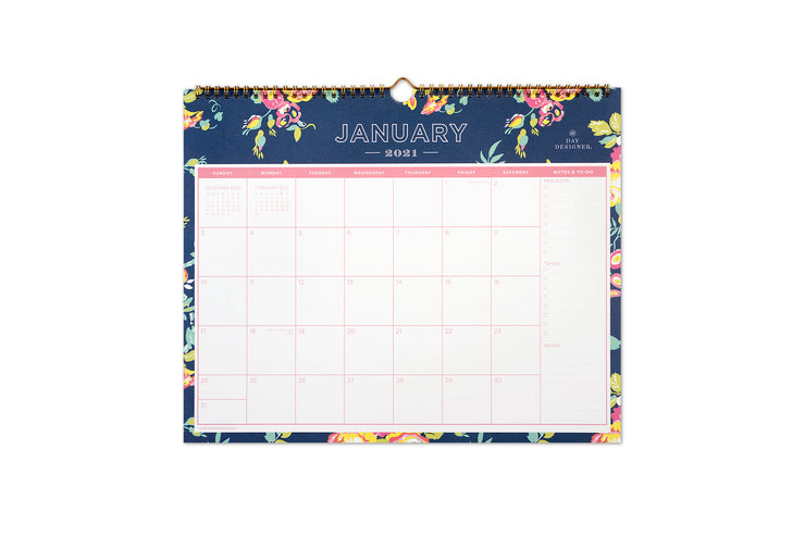 January 2021 to December 2021 wall calendar in a 15x12 size with navy blue background and florals