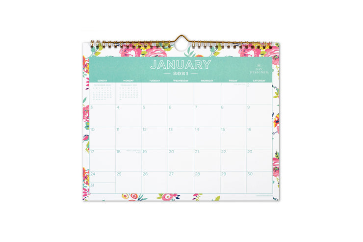 January 2021 to December 2021 wall calendar in a 15x12 size with white background and pink florals 11 x 8.752 size