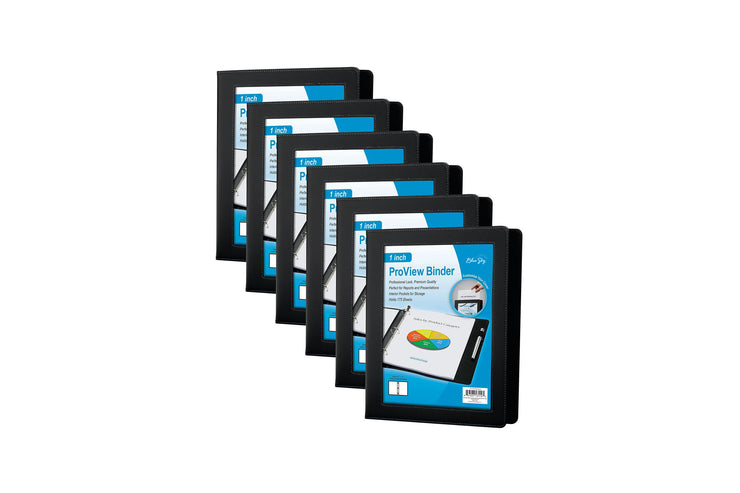 one inch blue sky professional view binder six-pack featuring front cover preview, faux leather, with lined stitching