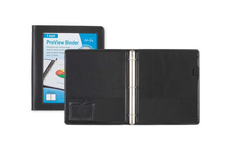 1 inch faux leather binder from blue sky featuring a pen loop holder, 1 inch binding, business card holder, and ample space for storing documents