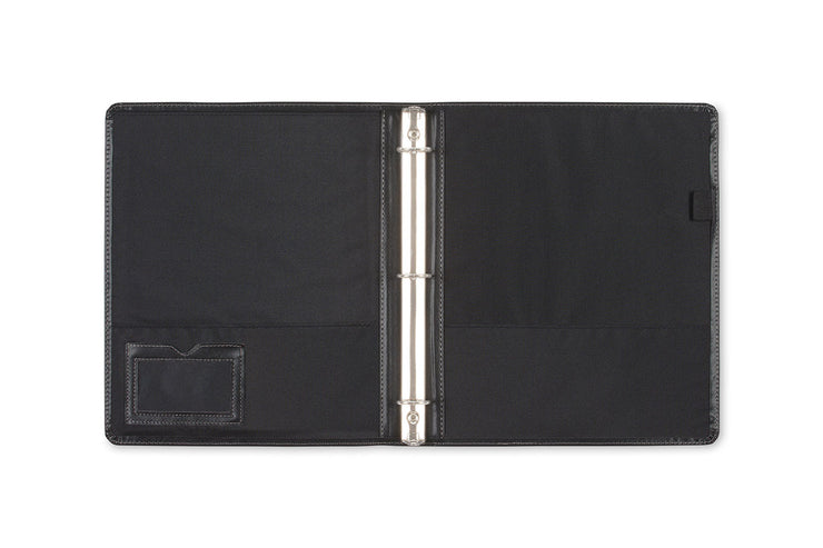 "open spread of 1"" professional pro view binder with silver binding, business card holder, pen loop, and pockets."