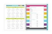 2020-2021 academic teacher planner with reference calendars and multi-colored striped patterns.