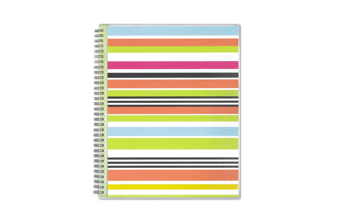 academic teacher lesson planner with multi-color stripes front cover and silver twin wire-o binding in 8.5x11 size