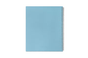 this teacher lesson planner for 2020 has a light blue back cover in 8.5x11 size and a silver twin wire-o binding.