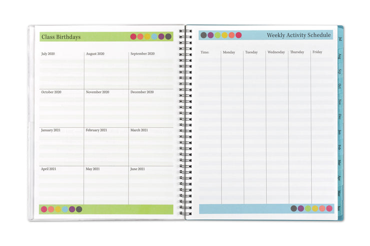 A teacher lesson planner by Blue Sky featuring a page for class birthday by month from July 2020-21 and a weekly activity schedule