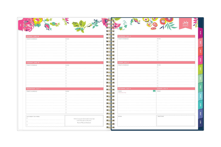 july 2020-2021 weekly spread with today's schedule, to do lists, in pink and floral patterns