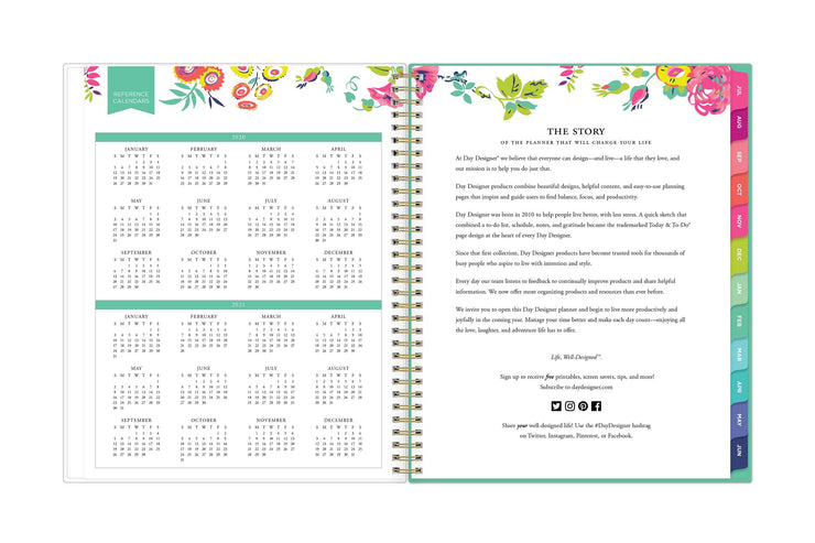 2020-2021 reference calendar in a 8.5x11 page with mint borders and floral patterns