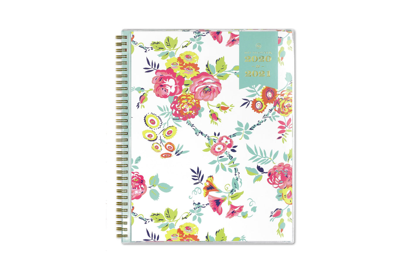 2020-2021 academic school planner with white background and floral patterns