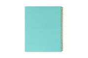 day designer's peyton white weekly planner in 8.5x11 size with mint back cover and gold twin wire-o binding