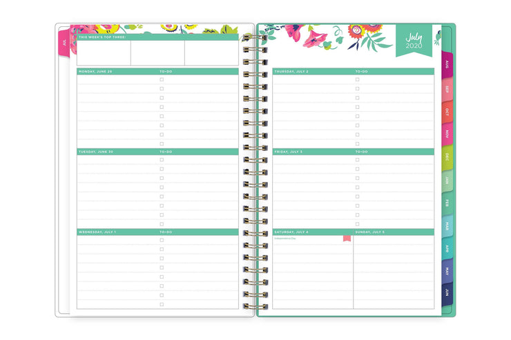 day designer weekly spread with mint borders, top floral pattern and featuring lined writing space with to-do lists