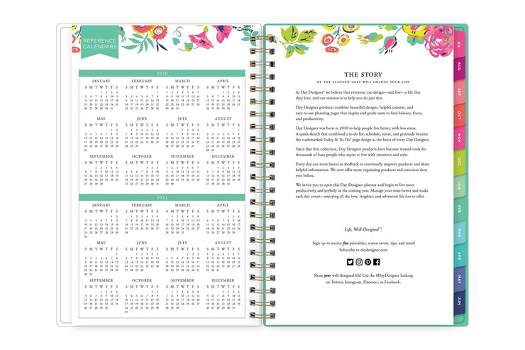 2020-2021 reference calendar in 5x8 page size on the left and day designer brand's story on the right page