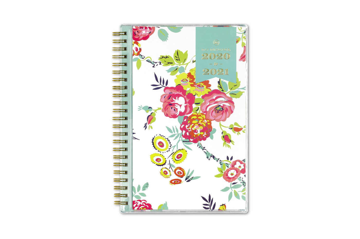 2020-2021 white background front cover with pink flowers and gold twin wire-o  binding