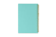 5x8 academic school planner with mint back cover and gold twin wire-o binding
