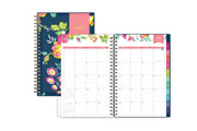 2020-21 weekly planner for school or academic year. monthly spread with rainbow colored tabs and notes section