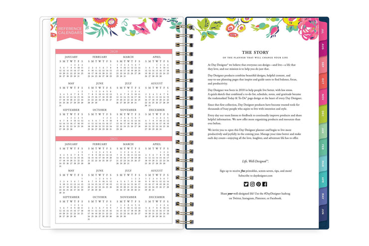 2020-2021 reference calendar in 5x8 page size and day designer story for school year