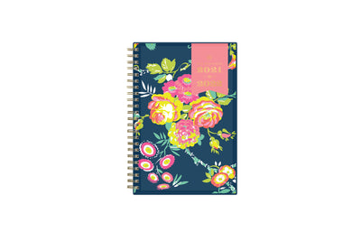 2021-2022 weekly monthly academic planner from Day Designer for Blue Sky featuring a navy background and floral front cover 5x8