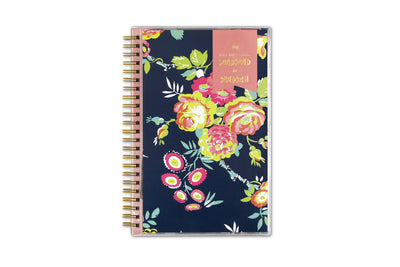 day designer 5x8 weekly planner for academic year 2020-2021 in peyton navy floral pattern