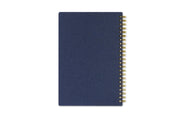day designer payton navy 5x8 weekly planner with navy back cover and twin gold wire-o