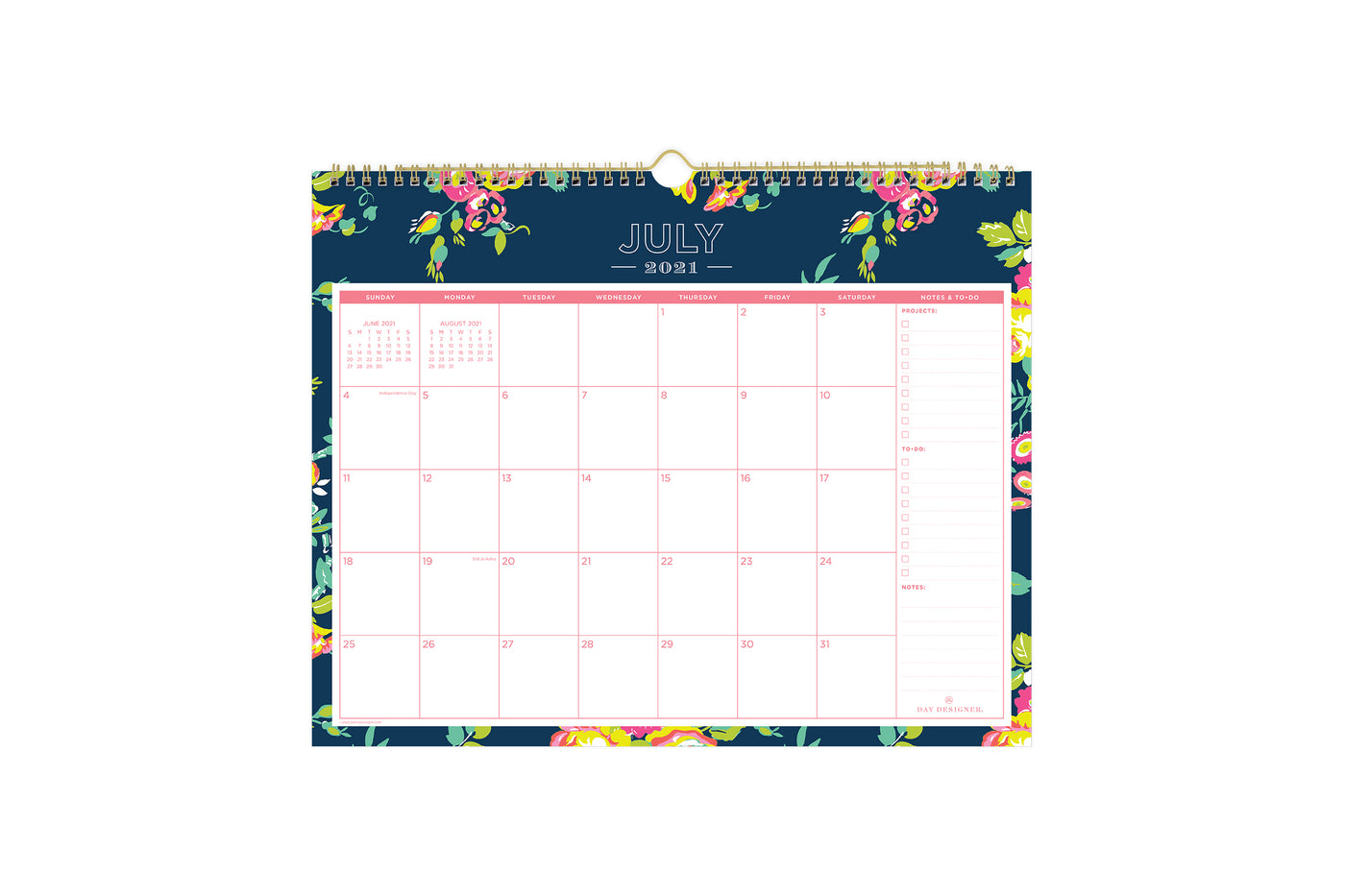 2021-2022 academic wall calendar for school year from Day Designer for Blue Sky in a white background, floral pink pattern and monthly view layout