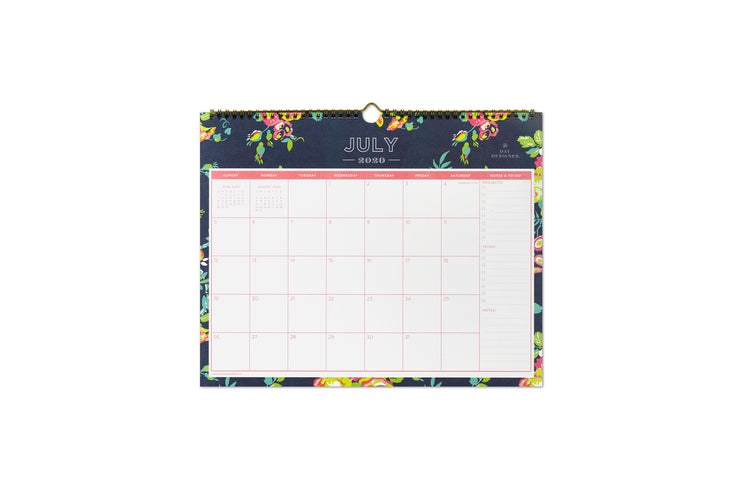 day designer wall calendar in 15x12 floral navy blue academic year