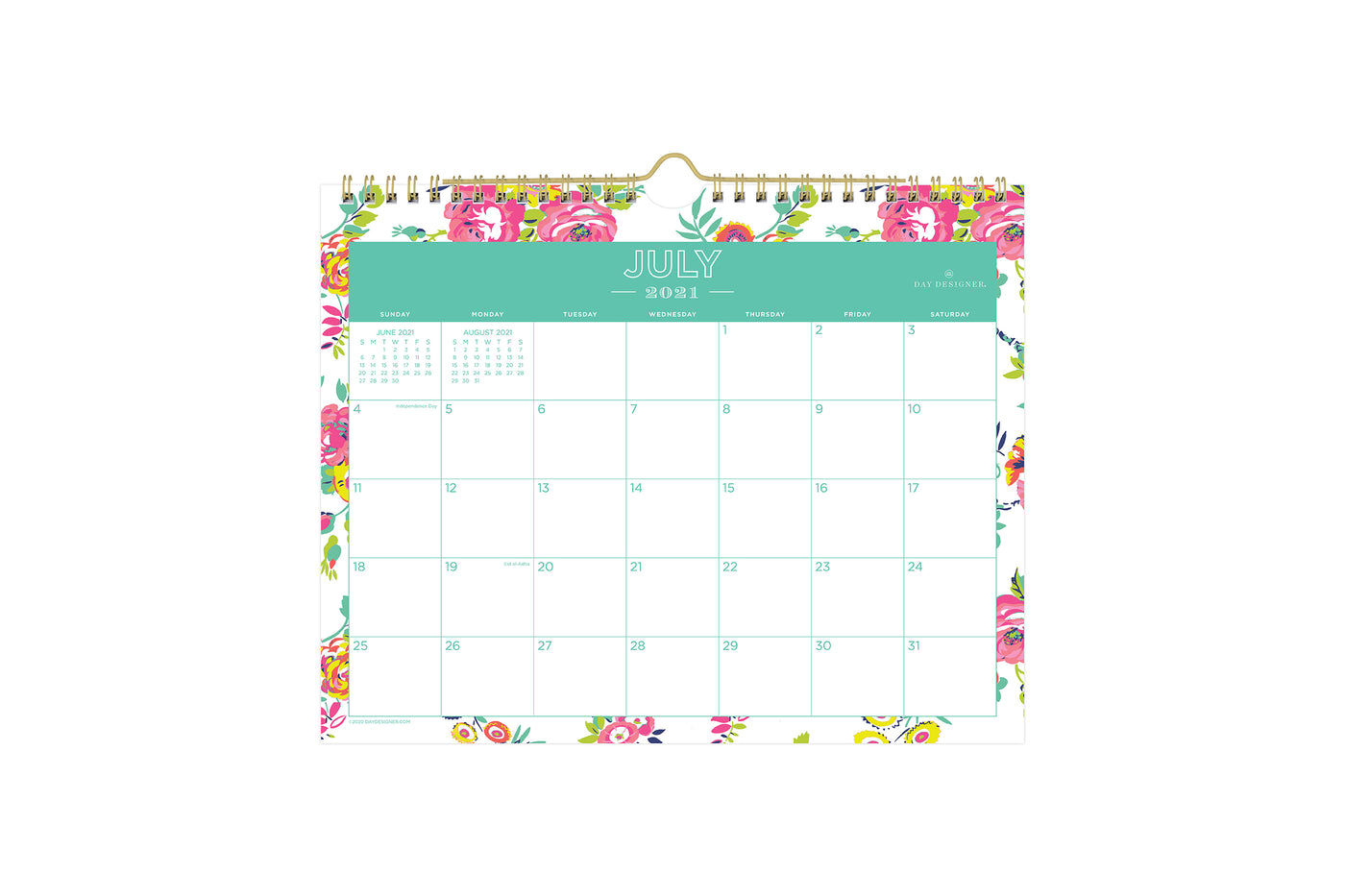 2021-2022 academic wall calendar for school year from Day Designer for Blue Sky in a white background, floral pink pattern and monthly view layout, gold twin-wire binding