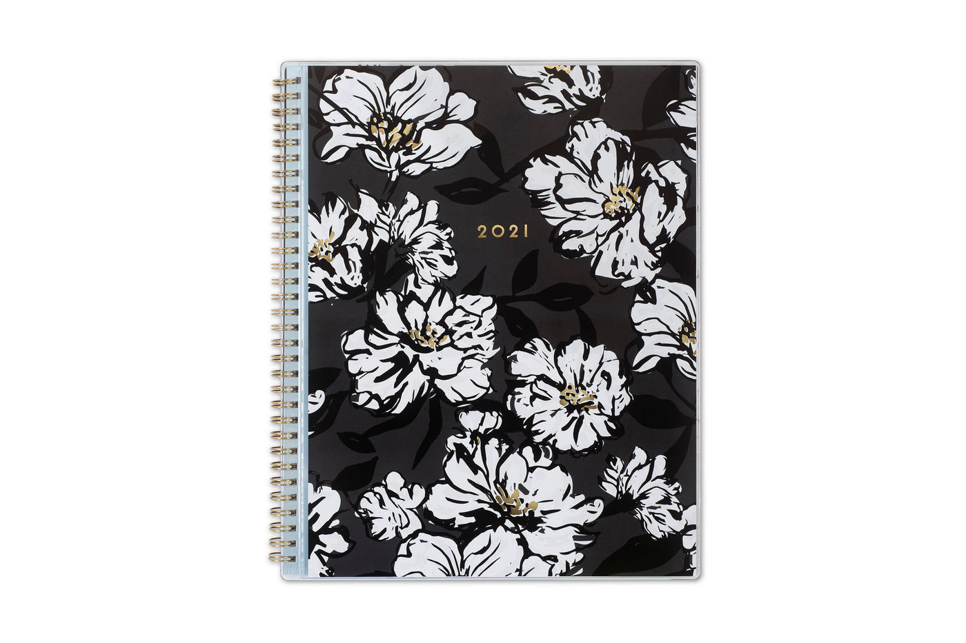 8.5x11 weekly monthly planner for 2021 new year featuring silver twin wire-o binding, black/gray background, white florals and gold accents