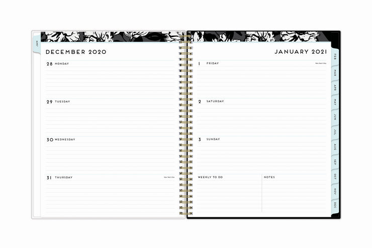weekly view on this 2021 monthly weekly planner featuring ample lined writing space, weekly to do section, notes section, and blue monthly tabs