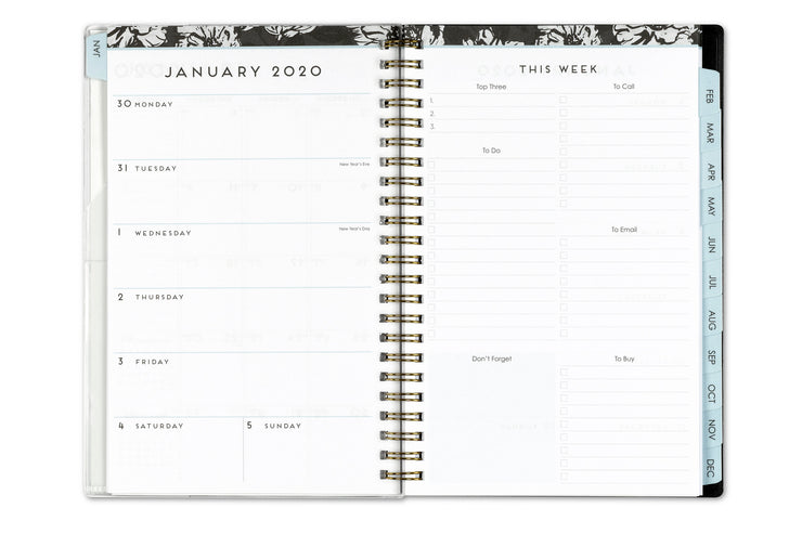 2020 weekly planner, blue sky, weekly/monthly