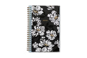 5x8 weekly monthly planner for 2021 new year featuring silver twin wire-o binding, black/gray background, white florals and gold accents