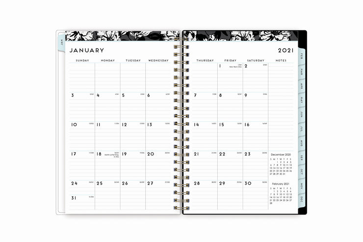 2021 weekly monthly planner featuring a monthly view with lined writing space for each date, reference calendars, and light blue monthly tabs