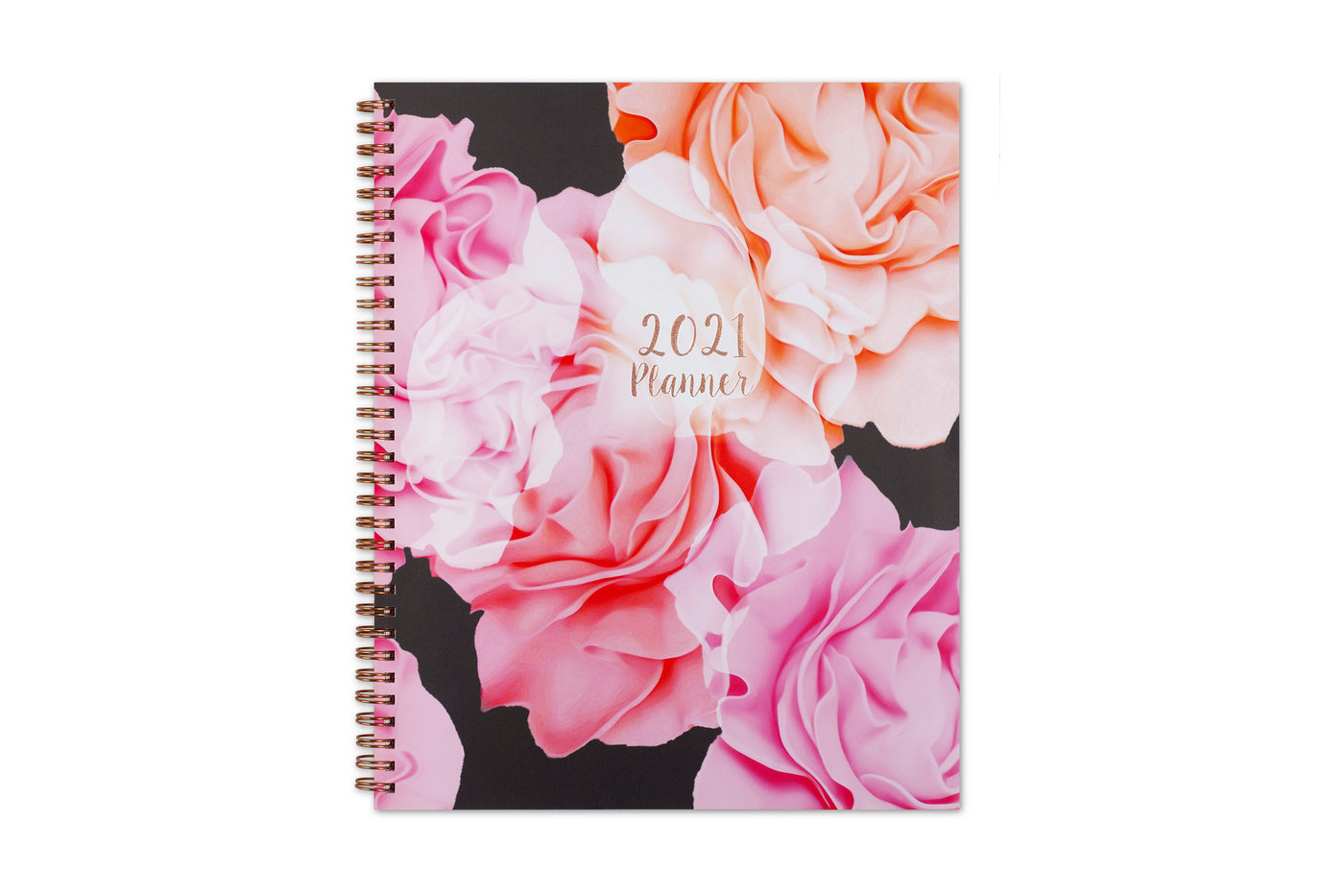 Blue Sky 2021 weekly monthly planner for the new year featuring Joselyn, rose gold twin wire-o binding, gold accents for date, and florals 8.5x11