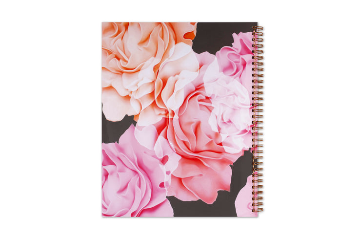 blue sky's 2021 weekly monthly planner in 8.5x11 with rose gold twin wire-o binding, and floral backcover to plan the new year