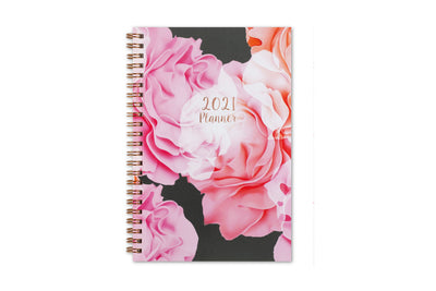 Blue Sky 2021 weekly monthly planner for the new year featuring Joselyn, rose gold twin wire-o binding, gold accents for date, and florals 5x8