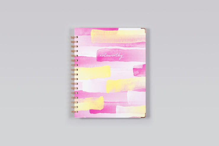 "2019 Noteworthy™ ""Layered Brush Strokes"" 7 x 9 Weekly/Monthly Hardcover 6-In-1 Planner"