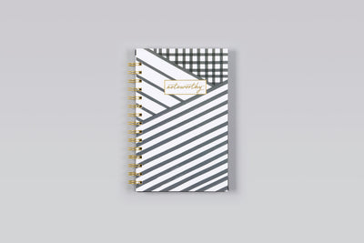 "2019 Noteworthy™ ""Layered Stripes"" 5 x 8 Weekly/Monthly Frosted Planner Notebook"