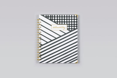 "2019 Noteworthy™ ""Layered Stripes"" 7 x 9 Weekly/Monthly Hardcover 6-In-1 Planner"