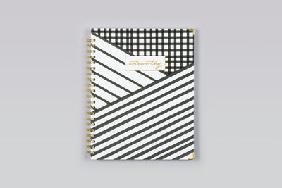 "2019 Noteworthy™ ""Layered Stripes"" 8.5 x 11 Weekly/Monthly Hardcover 6-In-1 Planner"