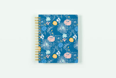 "2019 Ampersand for Blue Sky ""Fine Point Floral"" 7 x 9 Daily/Monthly Hardcover Planner"