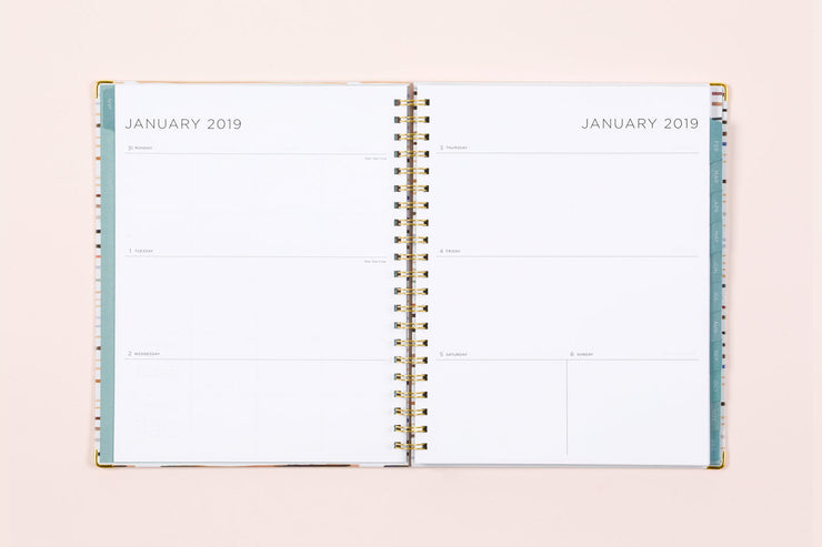"2019 Kelly Ventura for Blue Sky ""Twig Stripe"" 8.5 x 11 Weekly/Monthly Hardcover Planner"