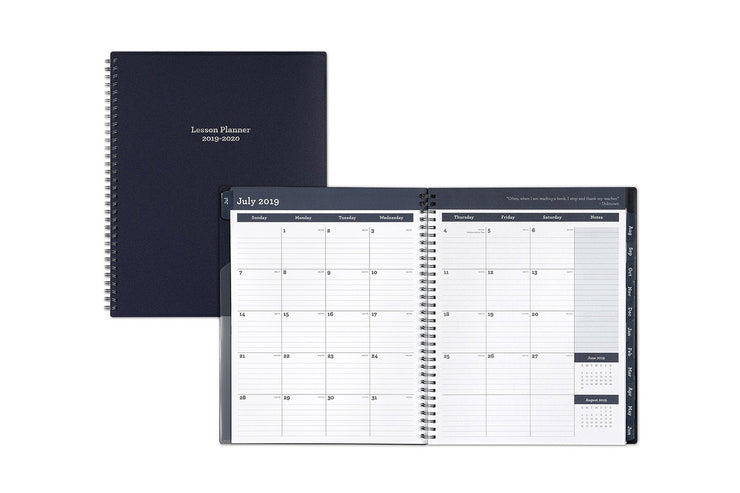 2019-2020 Teacher Navy 8.5 x 11 Weekly Lesson Planner