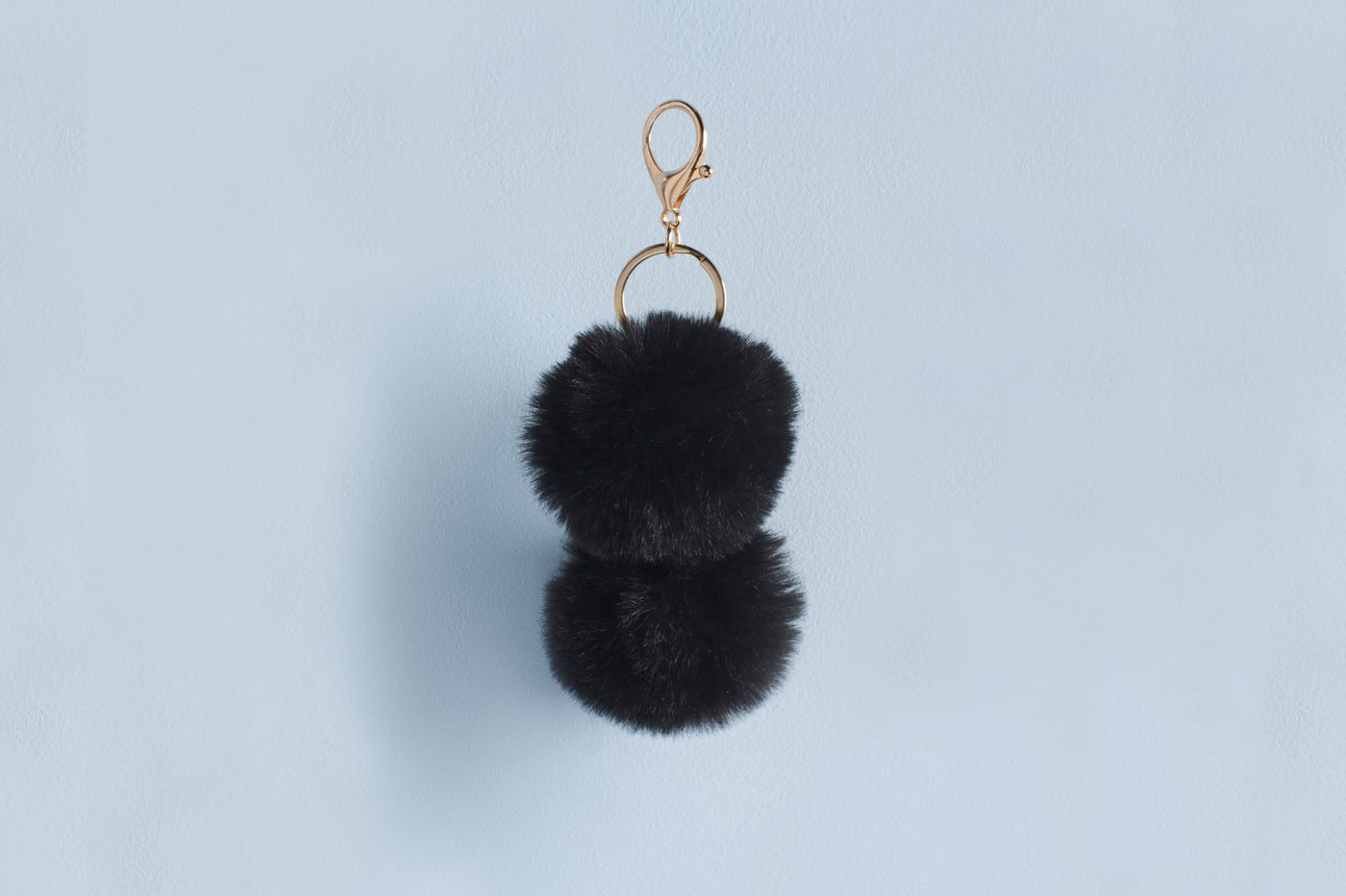 Pom Pom Keychain in Black Faux Fur
