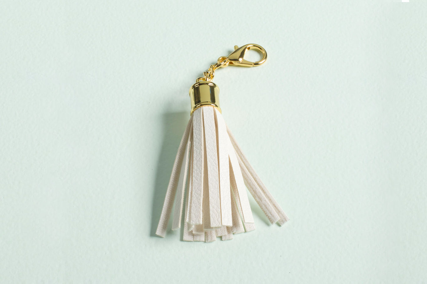 Tassel Keychain in Winter White Faux Leather