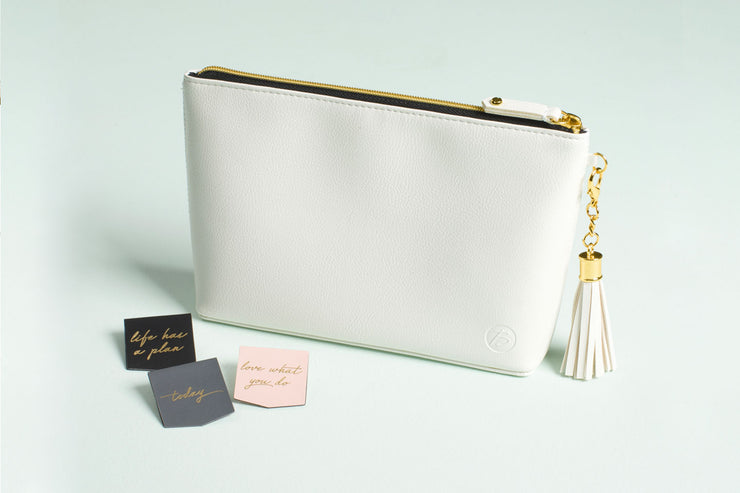 Accessories Bag in Winter White Faux Leather