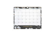 15x12 wall calendar for 2021 in baccara dark design featuring gold accents for months and days, black/grey background and white florals
