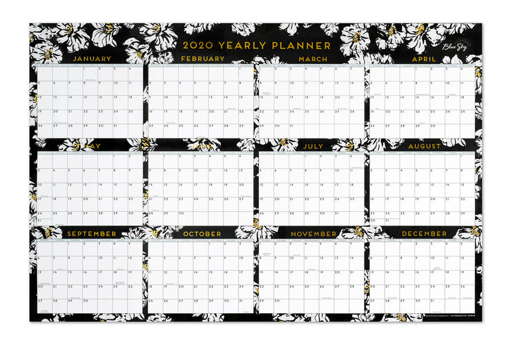 2020 calendar yearly view, 36x24 floral design