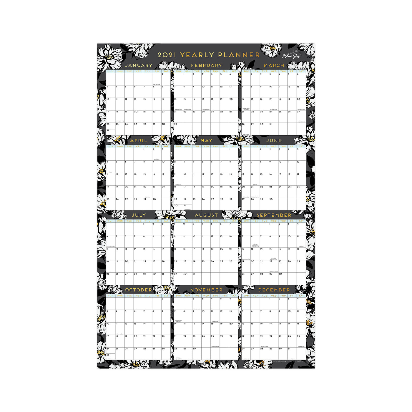 36x24 blue sky 2021 yearly wall calendar with black background, white flowers, and gold accents in a vertical view