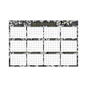 2021 wall calendar 36x24 in a horizontal view, featuring gold accents for months, square boxes for each date, black background and white flowers for the new year