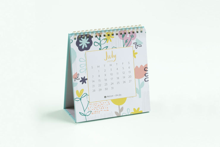 "2019-2020 Ampersand for Blue Sky ""Fresh Floral"" Monthly Desk Calendar w/ Stand"